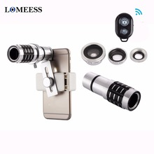 12X Telephoto Lens 4 In 1 Phone Fish Eye Lens Universal Wide Camera Lens ojo de pez For iPhone8 X Lens olho de peixe Tripod(China)