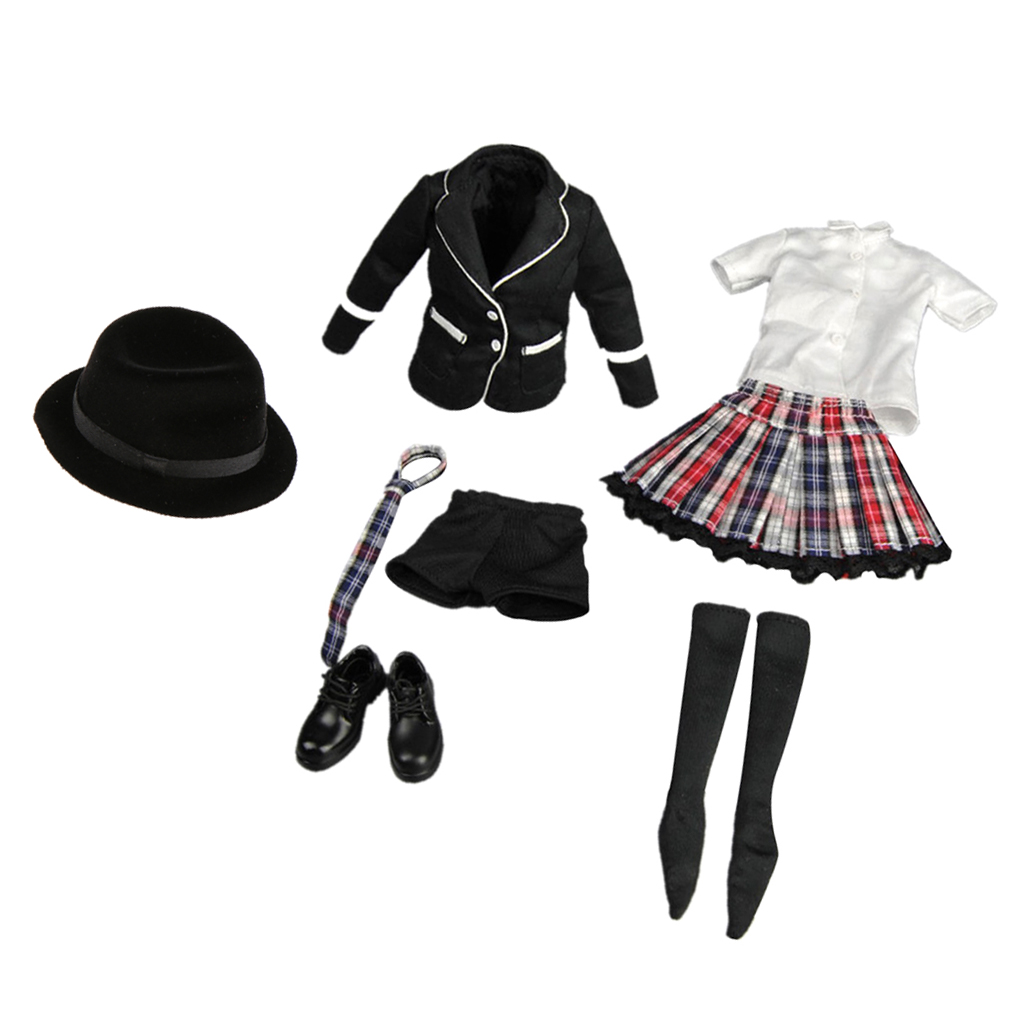 1//6 Scale Blue White JK Uniform for PHICEN Hot Toys Female Character Model