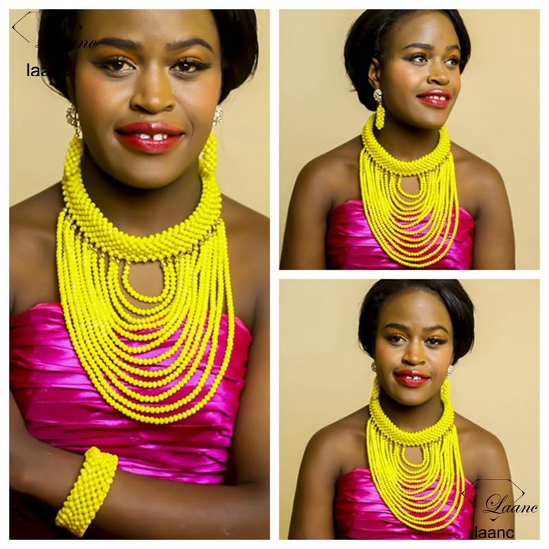 Laanc Brand Latest Nigerian Wedding African Beads Yellow Jewelry Set Crystal Dubai Women Costume Necklaces AL306