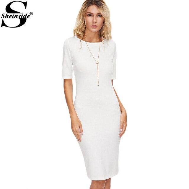 Sheinside femmes mode robes d'été robe moulante décontracté blanc manches courtes genou longueur dos fente robe crayon