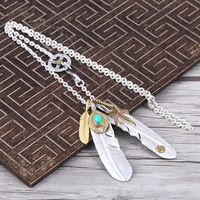 Takahashi Goro's Feather Necklace Men And Women S925 Sterling Silver Personality Indian Style Retro Thai Silver Set Necklace