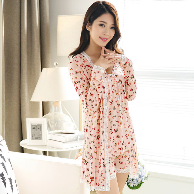 2016 Womens Pajamas Robe & Gown Nightgown women Summer spaghetti strap robe shorts sexy sleepwear lounge 3 pcs set pajamas