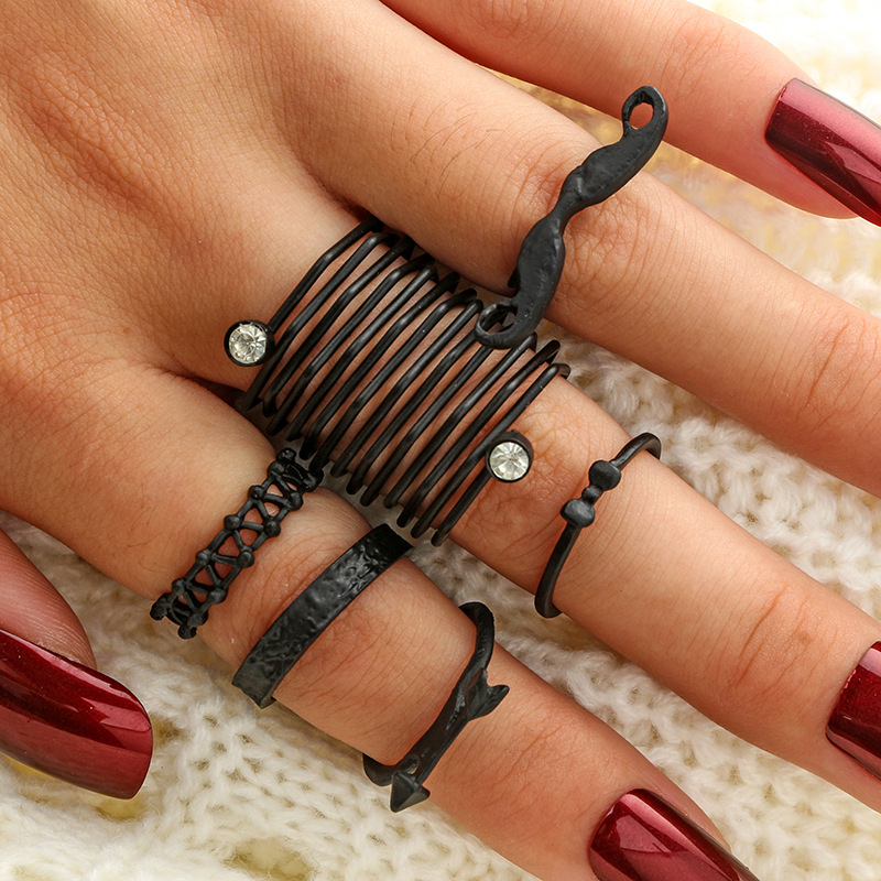 AYAYOO 6Pcs/Set Midi Rings Set for Women 2018 New Fashion Boho Chic Moon Flowers Antique Silver Plated Jewelry Accessories