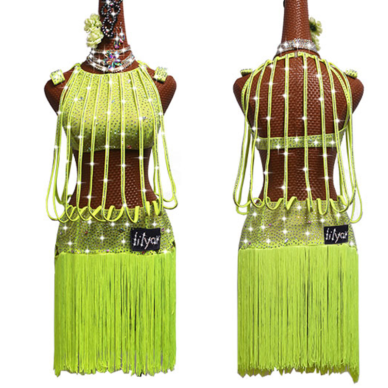 2019 Latin Dance Dress For Women Neon Green Rhinestone Strip Falda Flecos Fringe Dress Stage Competition Latin Dresses VDB153