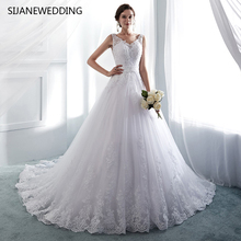 SIJANEWEDDING V-Neck Sleeveless Wedding Dress Ball Gown