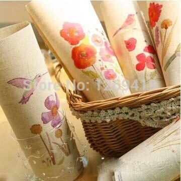 7 unids/lote 20 * 30 cm teñidos a mano de algodón tela de lino - flores de prima