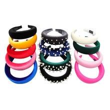 Xugar Hair Accessories Pearl Headbands for Women Solid Color Velvet Plastic Hoop Girls Sponge Hairbands