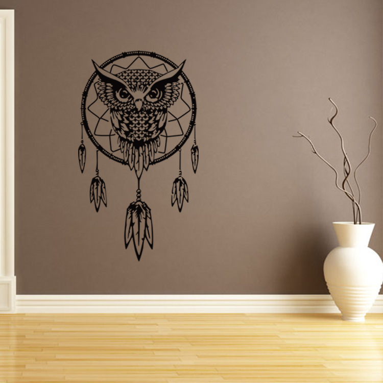Aliexpress.com : Buy Owl Dream Catcher Big Wall Sticker For Living Rooms  Bedroom Home Decor Office Cafe Stickers Wall Art Decoration Dorm Wallpaper  From ...