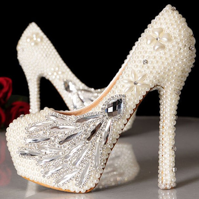 New Style handmade 4 inches heels Wedding Dress Shoes Ladies Ivory  bridesmaid shoes Celebration Party Prom Pumps-in Women s Pumps from Shoes  on ... 2b0131037a6d