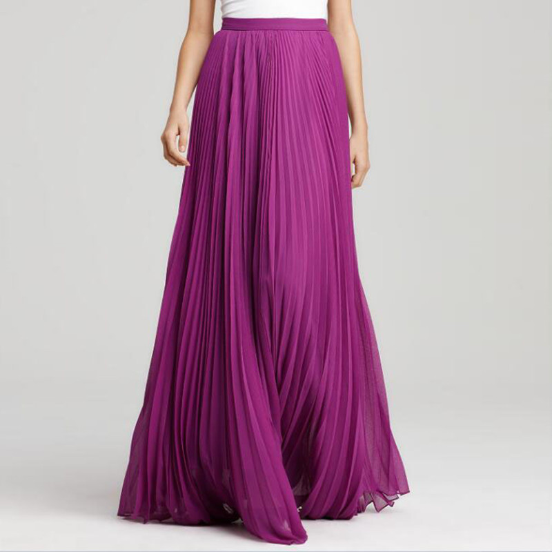 Elegant Long Skirt Pretty Purple Pleated Maxi Skirt Zipper Style Summer Beach Skirt Women High Quality