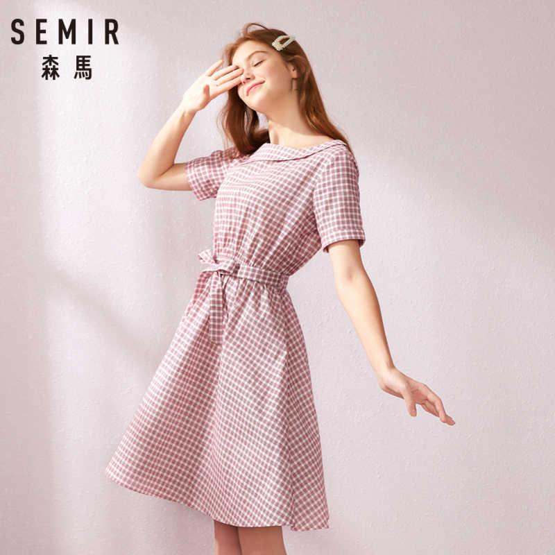 SEMIR платье для женщин 2019 лето новая талия с отворотом ретро плед тонкий слово платье Девушка ремень сексуальная одежда