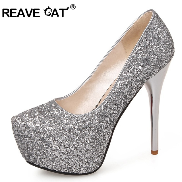 65a8108fc7f REAVE CAT Bling Platform Women pumps shoes High Thin heels Sequined cloth  Big size 32-43 Spring Summer Wedding party Shoes A293