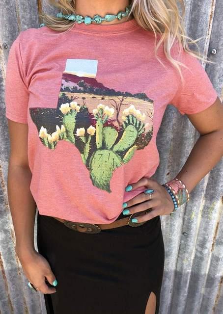 Thời trang Phụ Nữ Hồng T-Shirt Hoa Xương Rồng Texas In T-Shirt Mùa Hè Ngắn Tay Áo Mềm O Cổ T-Shirt Casual Floral Tops Tee