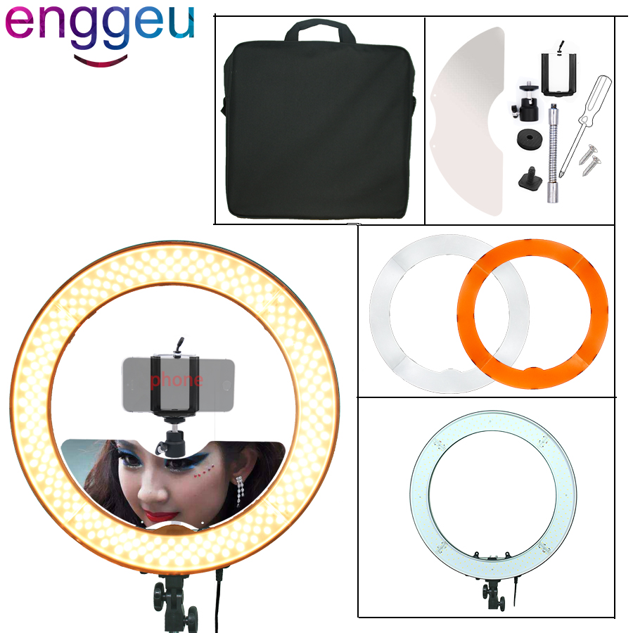 Annular lamp 18 240pcs Leds of 3200K/5500K Dimmable photography camera photo LED ring light for video studio selfie ring light 1pc 150w 220v 5500k e27 photo studio bulb video light photography daylight lamp for digital camera photography