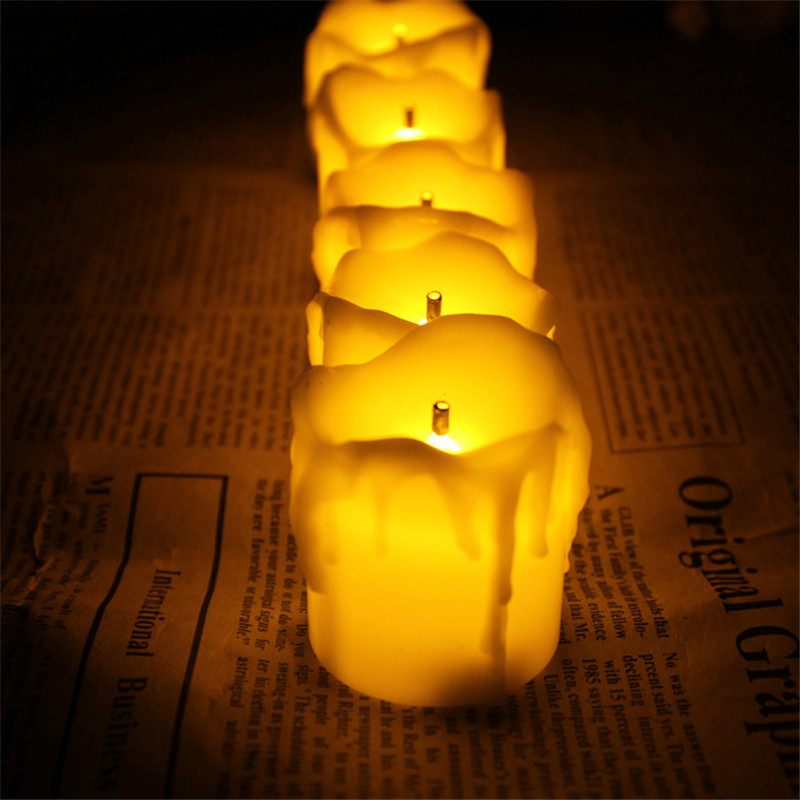 set of 6 flameless candles with timer yellow flicker battery operated votive - Flameless Candles With Timer