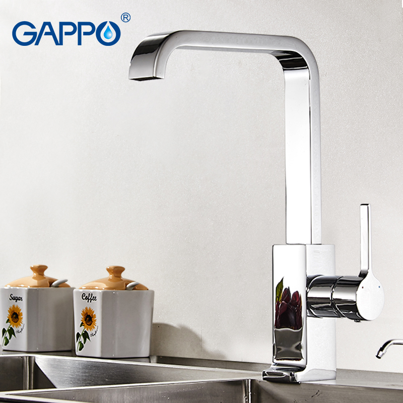 GAPPO Luxury Style Brass Solid Kitchen Faucet Square Design Single Handle Cold and Hot Water Mixer