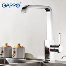 Gappo Роскошные Стиль латунь одноцветное Кухня кран площадь Дизайн одной ручкой холодной и горячей воды смесителя G4004