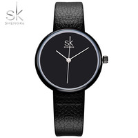 SHENGKE Style Women Watch Unique Round Classic Threepin Design Black Watch Gift For Girls