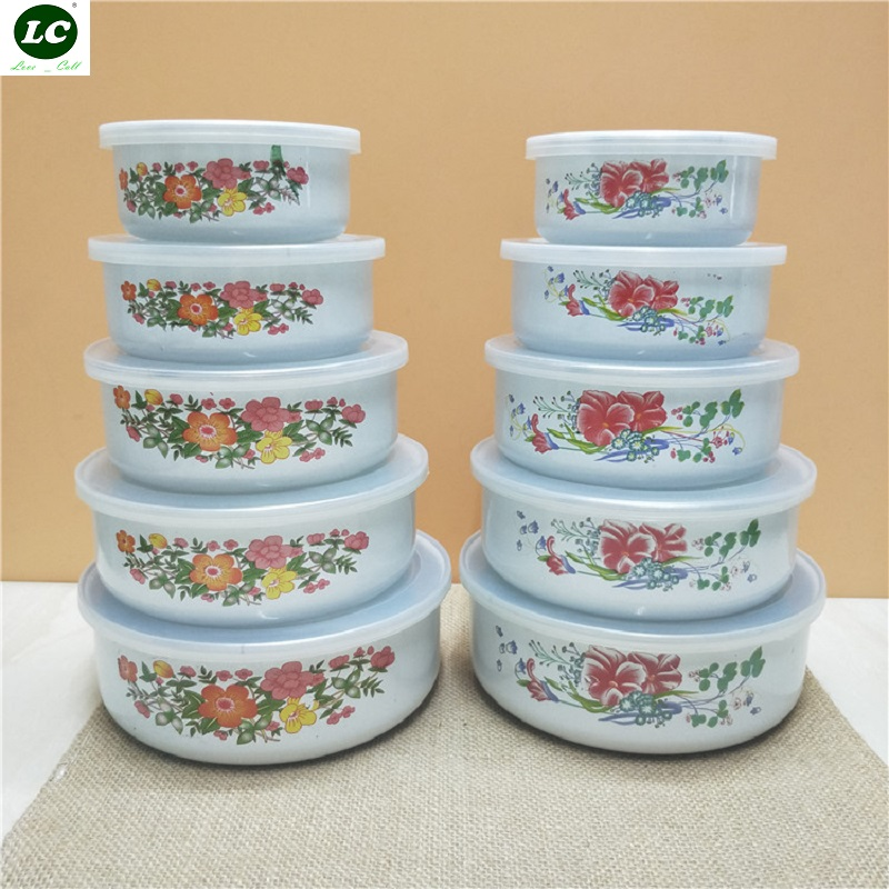 5PCS / set Enamel Cold Storage Bowl Instant Noodle Bowl Rice Bowl Fresh Bowl Box Sealed Soup Bowl with PP cover