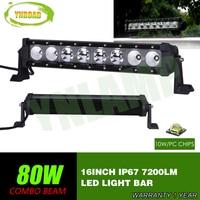 YNROAD 80w single row Led Light Bar 8x10W work light Driving Offroad Light Spot/flood/combo 10W leds 7200lm 10V 30V 4x4 IP67