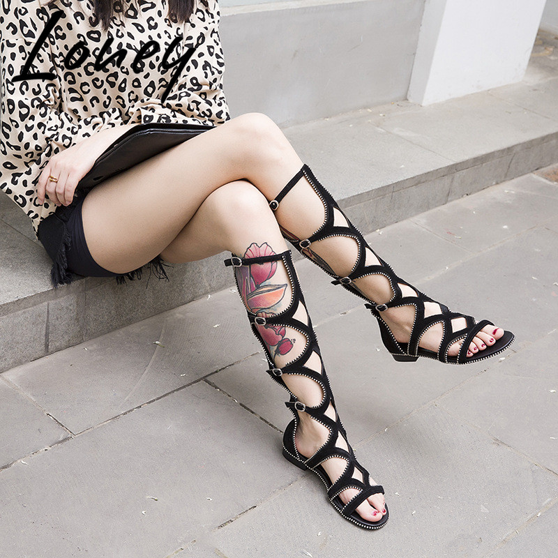 Loney New Black Genuine Leather Metal Studded Summer Sandals Open Toe Knee HIgh Buuckel Strap Sandal Boots Sandals Shoes Women