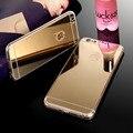 Hot! 100% tampa da caixa do silicone para o iphone se 5 5s 6 6 S 6 Mais 5.5 polegada de Volta Sacos Tampa do Espelho de Luxo galvanoplastia