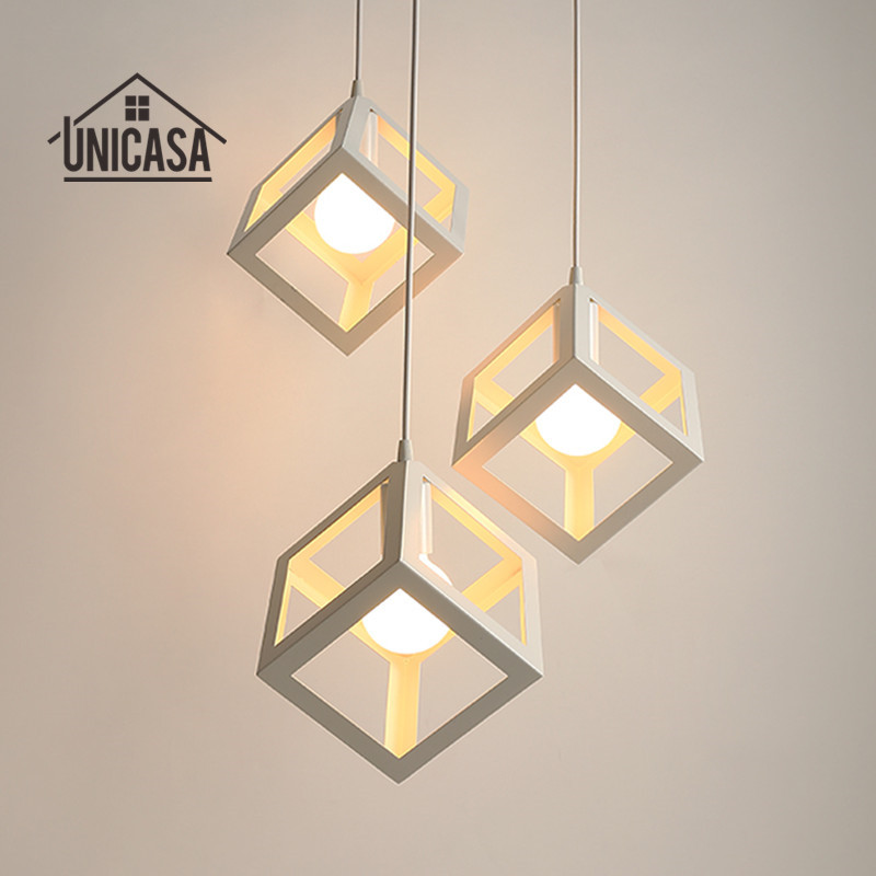 Small Vintage Bar Lights: Industrail Chandelier Lighting Vintage White Shade Iron