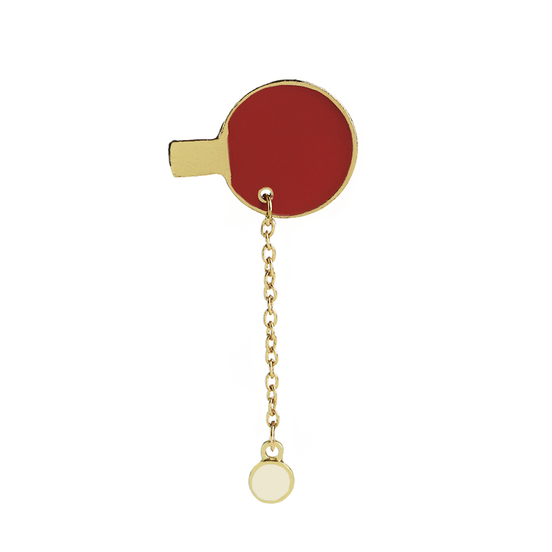 Table tennis racket pins Badminton racket broches pingpong enamel brooch Badminton sports enthusiasts pin chain for sport lover