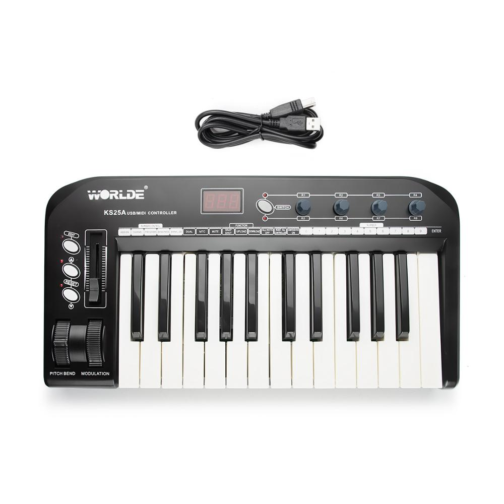 worlde ks25a multi function usb midi keyboard controller with digits led display in electronic. Black Bedroom Furniture Sets. Home Design Ideas