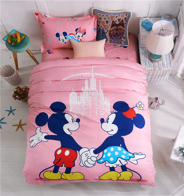 Mickey And Minnie Bedding Set Single Twin Double Size Bedspreads 100%  Cotton Woven Bed Sheets