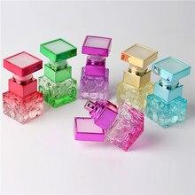 Garrafa de perfume portátil 10ml, frasco de vidro colorido portátil com atomizador, cobertura vazia para viagem