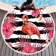 Flamingo Pattern Microfiber Round Beach Towel Tippet With Tassel Bohemian Tapestry Large Towels Blanket Picnic Yoga Mat