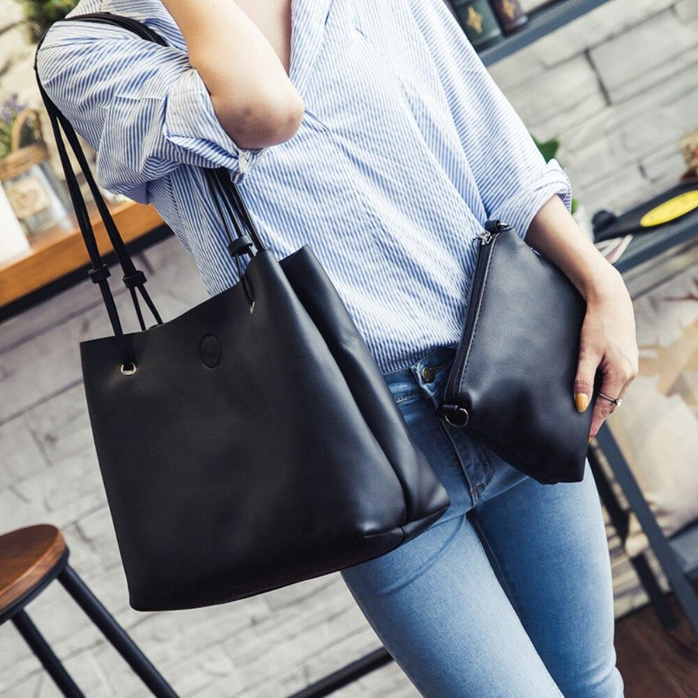 c1475883846 US $10.14 40% OFF|2 Pcs/Set Women Bucket Bag Faux Leather Shoulder Bag Tote  Handbag suede clutch luxury handbags women bags designer women bag new-in  ...