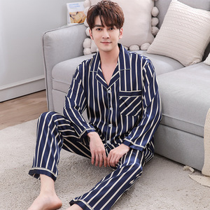 Image 3 - BZEL Couple Pajama Sets Silk Satin Pijamas Striped Sleepwear His and her Home Suit Pyjama For Lover Man Woman Lovers Clothes