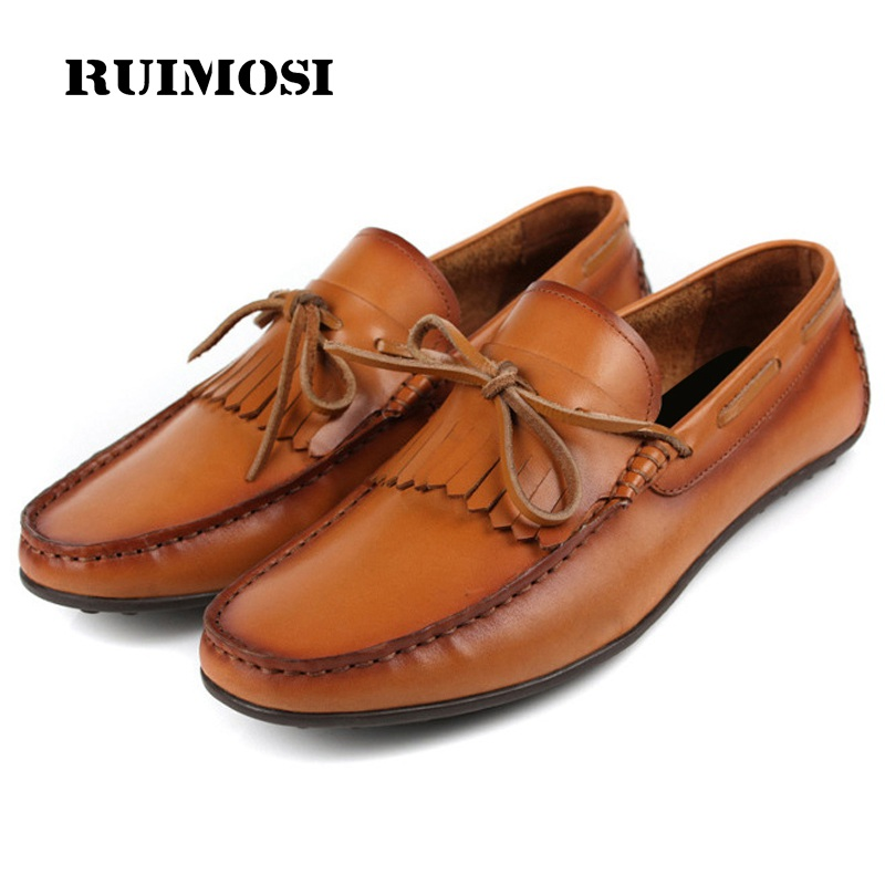 RUIMOSI New Arrival Man Casual Creepers Shoes Genuine Leather Comfortable Loafers Designer Brand Men's Boat Driving Flats FG96