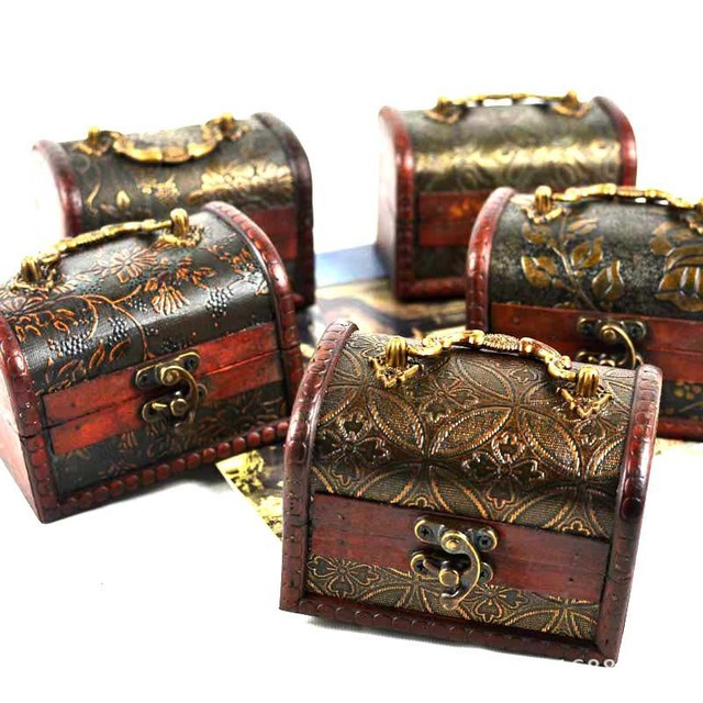 Customized Creative Vintga Wood Jewelry Collection Case Hidden Safe Box