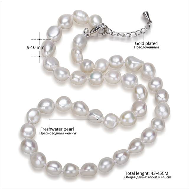 Trendy Genuine Baroque Pearl Choker Necklace