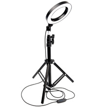Купить с кэшбэком 6'' 16cm Dimmable Photography LED Ring Light Lamp Phone Video Lamp with 160CM Tripod Selfie Sticker USB Plug for YouTube Makeup