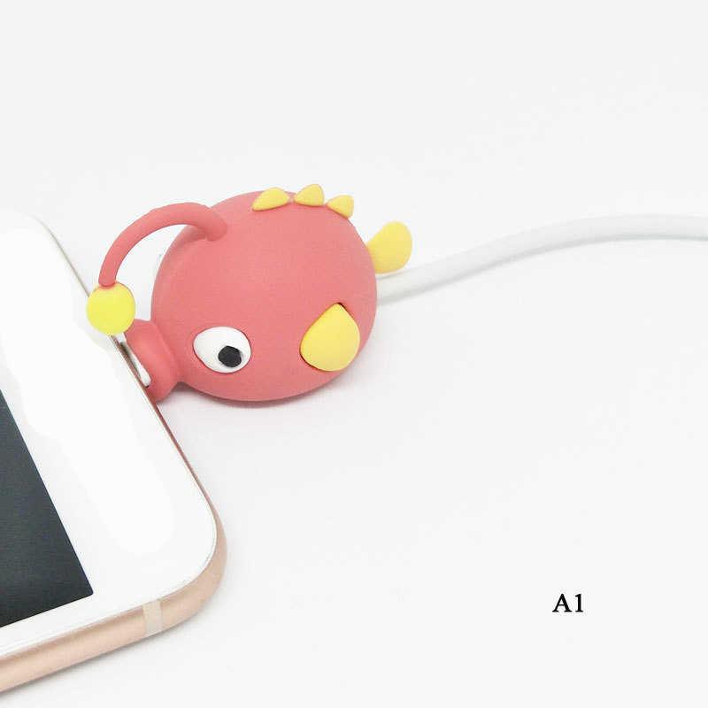 Kreskówki ugryzienie zwierzęcia kabel do transmisji danych Protector psy koty Shaper organizator do przewijania iPhone iPad ochrona linii danych akcesoria do telefonu
