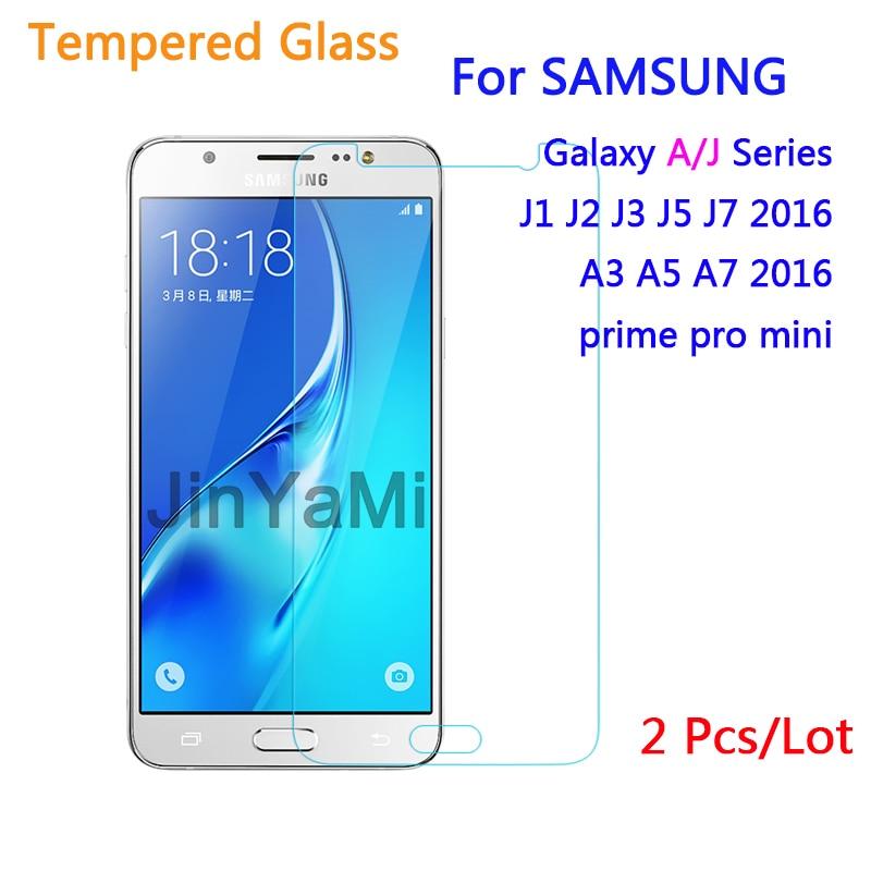 Tvrzené sklo 2 ks pro Samsung Galaxy J1 J3 J5 J7 A3 A5 2016 J2 Prime Mini J120 J320 J510 Ochranný obal na obrazovku