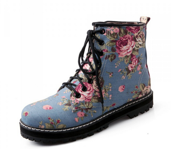 Free Shipping  Large size woman shoes 2017 autumn  winter new printing system Europe  America Martin boots with flat blue 35-43