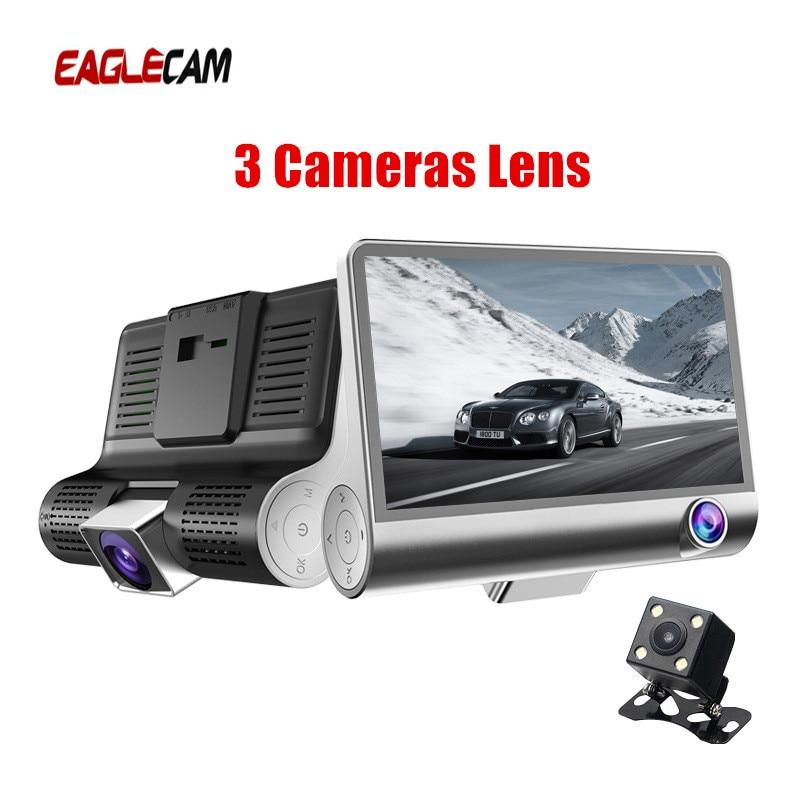 Car DVR 3 Cameras Lens 4.0 Inch IPS Dash Camera Dual Lens With Rearview Camera Video Recorder Auto Registrator Dvrs Night Vision
