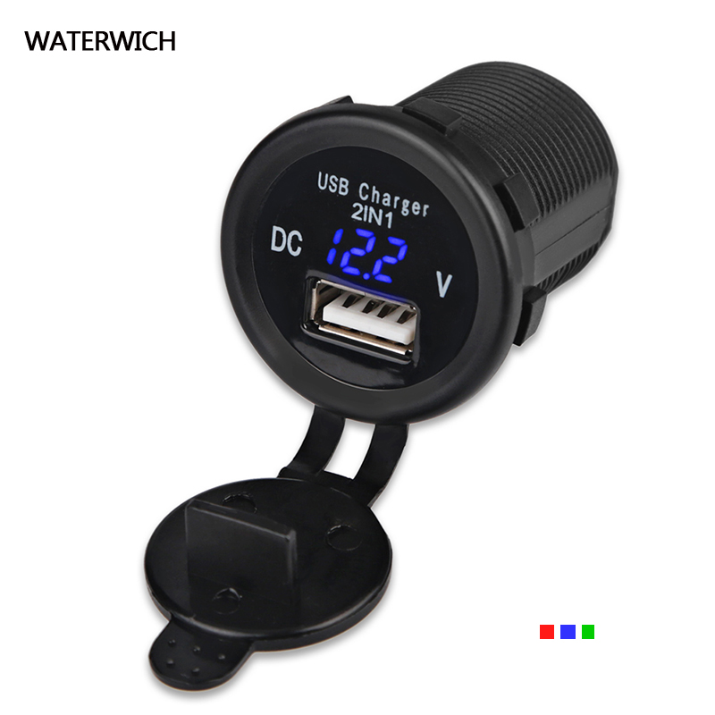 12V-24V 2.1A USB Phone Charger Socket Fast Charging Waterproof Digital Display For Car Boat Marine ATV RV USB Phone Car-charger