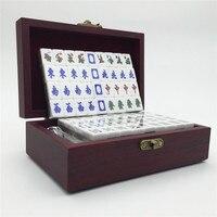 Mah Jong Set In Decorated Box Wood Melamine 144 Tiles 2 Spare Blank Tile 3 Dice
