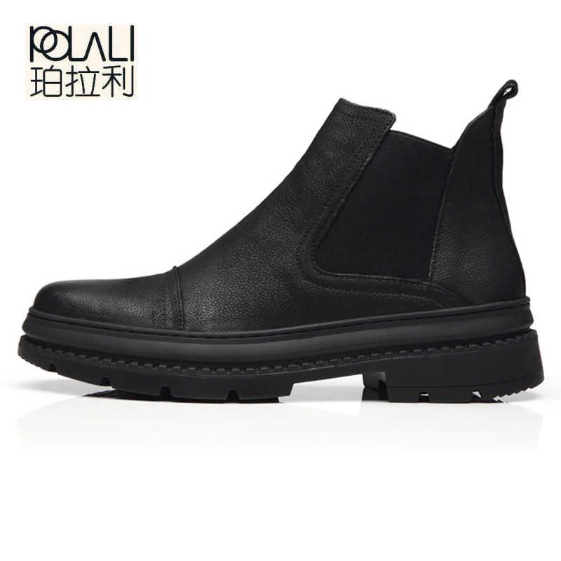 POLALI 2019 Herfst Winter vlevet Retro Mannen Laarzen Comfortabele Rits Merk Casual Schoenen Split Leer Snowboots schoenen