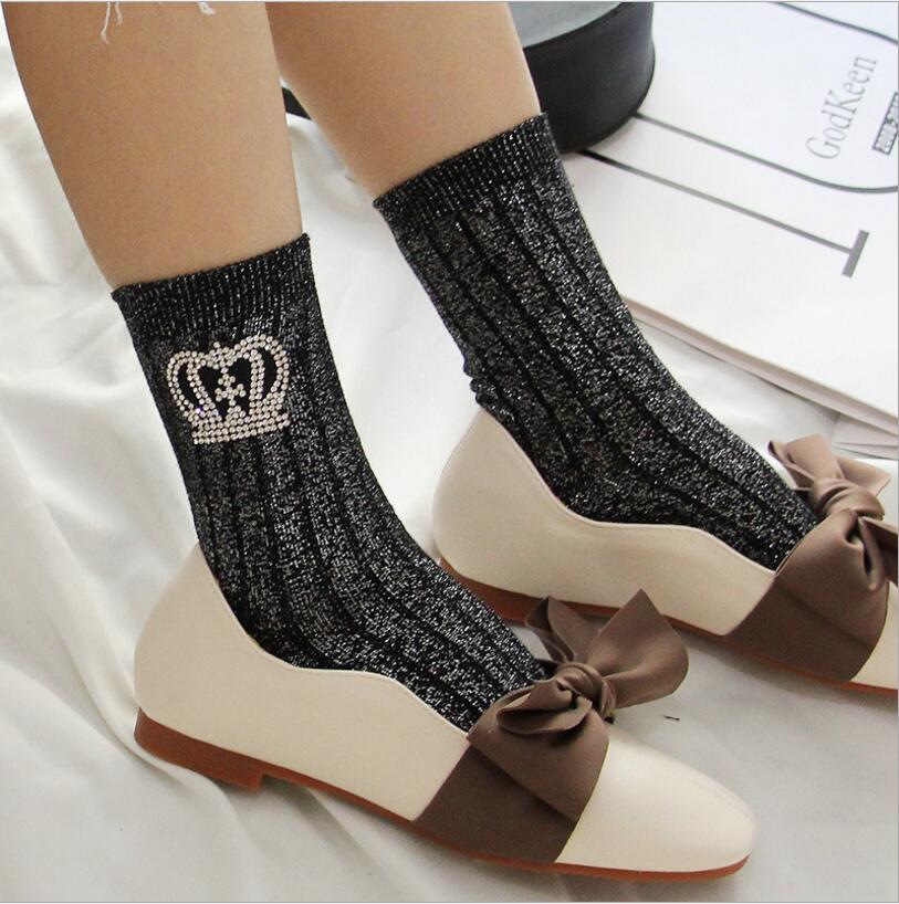2018 autumn winter New Arrival Women Glitter   Socks   Sliver Vertical bar Shiny   Socks   Rhinestone crown   socks   cotton Female   Socks