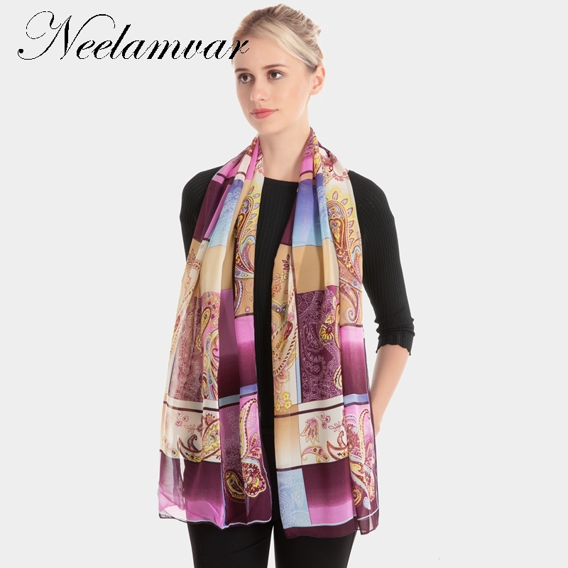 Neelamvar 2018 fashion scarves Autumn thin silk scarf women long shawl hijab scarves muslim lady wrap cachecol feminino in Women 39 s Scarves from Apparel Accessories