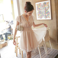 Free Shipping 2014 New Arrival Women Plus Size Summner Chiffon Dress Hight Quality Retail Wholesale 12132