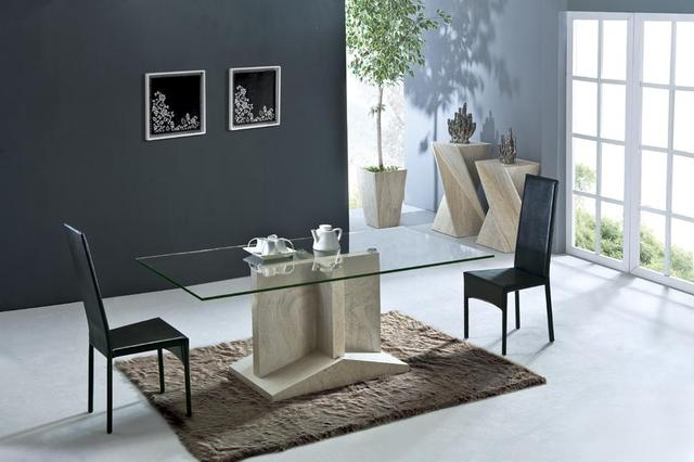 Health Travertine Dining Table Set Luxury High Quality Natural Stone Marble  Dining Furniture Rectangle Table NB