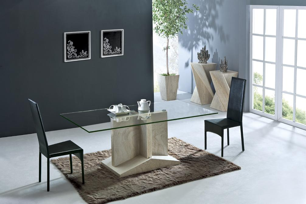 Health Travertine Dining Table Set Luxury High Quality Natural Stone Marble Furniture Rectangle NB